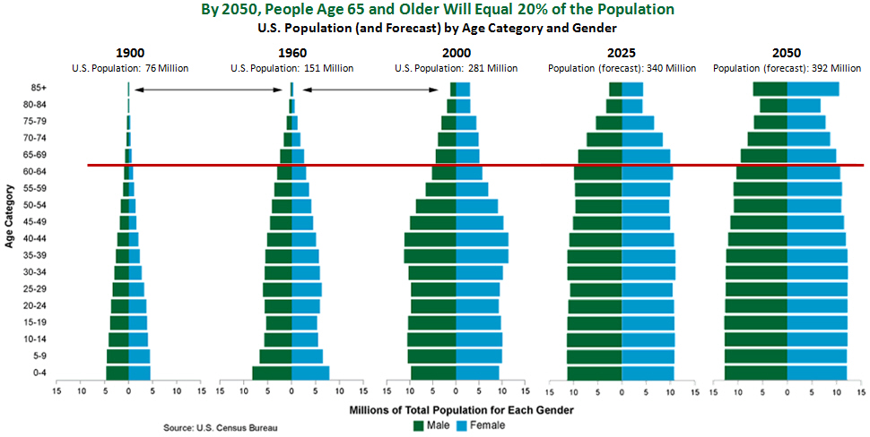 U.S. Census age distribution data shows that increasing life expectancy affected the size of the bars for both males and females. In 1900, only about 200,000 people made it to age 85, but by 2050, 17-18 million people will be 85 and older. That represents about 4.5% of the total population, and people age 65 and older will equal 20% of the population.