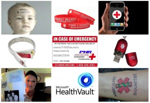 Various types of Medical Alerts are shown. Click to read a related article about Maintaining Personal Health Records