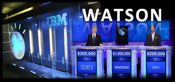 IBM Watson plays Jeopardy! and wins.