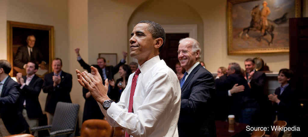 Obama and White House staff react to passing of the ACA.